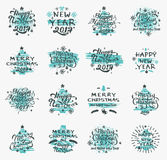 Christmas and New Year badges. Set of Merry Christmas badges and Happy New Year stamp, sticker set with lettering typography. New year emblem in retro grunge Stock Photos