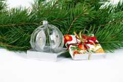 Christmas and New Year ball and present Royalty Free Stock Photos