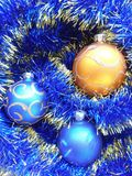 Christmas and New Years balls on a blue background Royalty Free Stock Photography