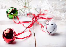 Christmas, New Year balls with ribbon, decorative snowflakes and owl . Royalty Free Stock Image