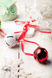 Christmas, New Year balls with ribbon, decorative snowflakes and owl . Stock Images