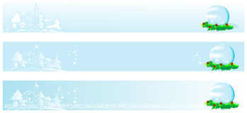 Christmas and new year banner. With snow dome and houses Royalty Free Stock Images