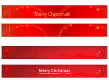 Christmas and new year banner. Collection of Christmas and new year banner red tones Stock Images