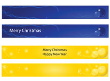 Christmas and new year banner. Collection of Christmas and new year banner, blue and yellow Stock Images