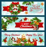 Christmas and New Year banner of wreath and ribbon Stock Images