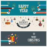 Christmas and New Year banner. Concept. Flat style. Vector vector illustration