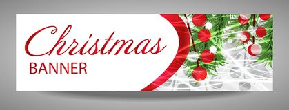 Christmas and  New Year banner with fir branches and red berries. Vector  illustration with place for your text Stock Images