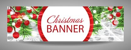 Christmas and New Year banner with fir branches and red berries. Vector illustration with place for your text royalty free illustration
