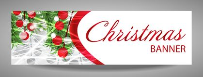 Christmas and  New Year banner with fir branches and red berries. Vector  illustration with place for your text Stock Photo