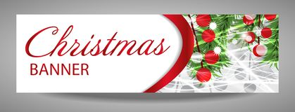 Christmas and  New Year banner with fir branches and red berries. Vector  illustration with place for your text Royalty Free Stock Images