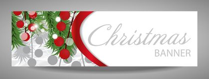 Christmas and  New Year banner with fir branches and red berries. Vector  illustration with place for your text Royalty Free Stock Photo
