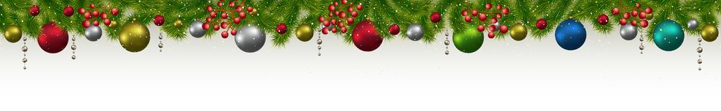 Christmas and New Year banner with fir-trees, garlands and berri. Es.  Christmas card, flyer or site header Royalty Free Stock Images