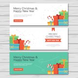 Christmas and new year banner flat design royalty free illustration