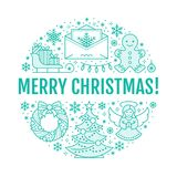 Christmas new year banner illustration. Vector line icon of winter holidays christmas tree, gifts, angel, letter to. Santa, presents, wreath gingerbread. Circle Stock Photography