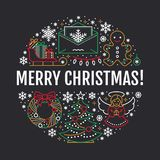 Christmas new year banner illustration. Vector line icon of winter holidays christmas tree, gifts, angel, letter to. Santa, presents, wreath gingerbread. Circle Stock Photos
