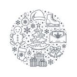 Christmas, new year banner illustration. Vector line icon of winter holidays - christmas tree, gifts, snowflakes, skates Stock Image