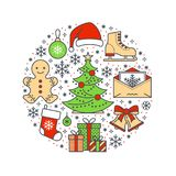 Christmas, new year banner illustration. Vector line icon of winter holidays - christmas tree, gifts, snowflakes, skates. Letter to santa, bells, gingerbread Stock Image