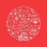 Christmas, new year banner illustration. Vector line icon of winter holidays - christmas tree, gifts, snowflakes, skates. Letter to santa, bells, gingerbread Royalty Free Stock Photography