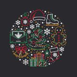 Christmas, new year banner illustration. Vector line icon of winter holidays - christmas tree, gifts, snowflakes, skates. Letter to santa, bells, gingerbread Stock Photography