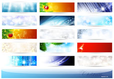 Christmas and New Year banner set. Bright multicolored Christmas and New Year banner set over white royalty free illustration