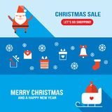 Christmas and New Year banner set Modern flat style Stock Photos