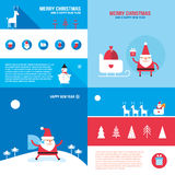Christmas New Year banner set Santa Claus presents gifts Royalty Free Stock Images