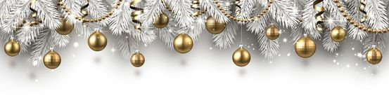 Christmas and New Year banner with white fir branches and gold C royalty free illustration