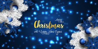 Christmas and New Year 2019 banner, Xmas sparkling magic lights garland stock photography