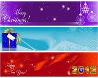 Christmas and new year banners. Christmas and new year banners with golden figure 2012, gift and balls Royalty Free Stock Images