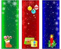 Christmas and new year banners. Christmas and new year banners with red candle; gifts and balls royalty free illustration