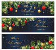 Christmas and New year banners with fir branches and balls. Vector illustration eps 10 vector illustration