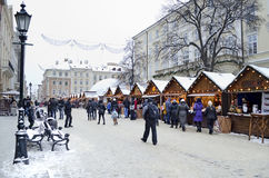 Christmas and New Year bazaar in Lvov. In the center of Lviv on Market Square opened Christmas and New Years Bazaar on December 22, 2012 in Lviv, Ukraine Stock Photography