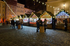 Christmas and New Year bazaar in Lvov Stock Image