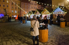 Christmas and New Year bazaar in Lvov Royalty Free Stock Images