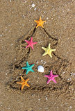 Christmas and New Year on the beach Royalty Free Stock Photos