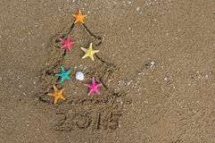 Christmas and New Year on the beach Royalty Free Stock Image