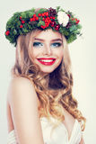 Christmas or New Year Beauty. Smiling Model Woman. With Blonde Hair and Makeup Laughing. Girl with Blonde Curly Hairstyle on Party Background Stock Image