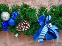 Christmas and New Year blue color decoration Royalty Free Stock Image