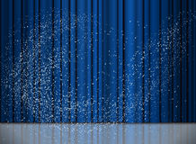 Christmas and New Year blue curtain with a snow Stock Photos