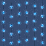 Christmas and New Year blue led lights garlands seamless pattern. Christmas and New Year garland seamless pattern, background. Blue snowflake led lights garland Royalty Free Stock Image