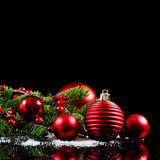 Christmas and New Year Border on black Royalty Free Stock Images