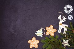 Christmas and New Year border or frame on black background. Winter holidays concept stock photos