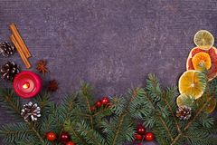 Christmas and New Year border or frame on grunge wooden background. Winter holidays concept. View from above, top studio shot Stock Photo
