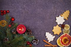 Christmas and New Year border or frame on grunge wooden background. Winter holidays concept. View from above, top studio shot Royalty Free Stock Image