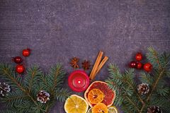 Christmas and New Year border or frame on grunge wooden background. Winter holidays concept. View from above, top studio shot Royalty Free Stock Photo