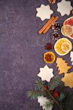 Christmas and New Year border or frame on grunge wooden background. Winter holidays concept. View from above, top studio shot Stock Photography