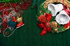 The christmas and New Year Border isolated. On green background stock images