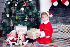 Christmas and new year boy Stock Photos