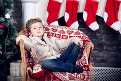 Christmas and new year boy Royalty Free Stock Photo