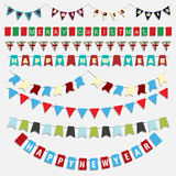 Christmas and New Year bunting. Collection of various designs of Christmas and New Year bunting royalty free illustration